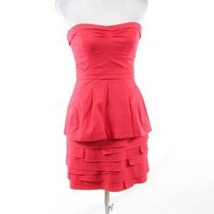 Light red  BCBG MAX AZRIA strapless tiered dress 4